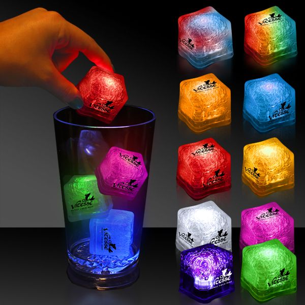 "Make your brand even cooler with the light up premium Lited Ice brand ice cube! The stylish 1 3/8"" lighted glow ice cube will add a touch of class to any drink with a single color LED or a 7 color, 3 LED combination style. Each cube features an on/off switch with 3 variable settings and includes as well as installed with batteries. The unique ice cube is a great promotion for bars, restaurants, nightclubs, and much more especially with an imprint of your logo or company name. Choking haz..."