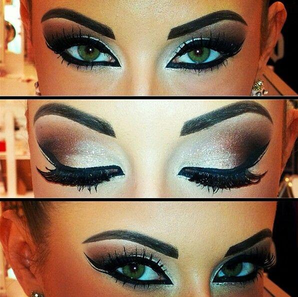 Gold smokey eye makeup. Perfect for a desi bride. Arabian eye makeup with a dark brow and dark eyeliner.