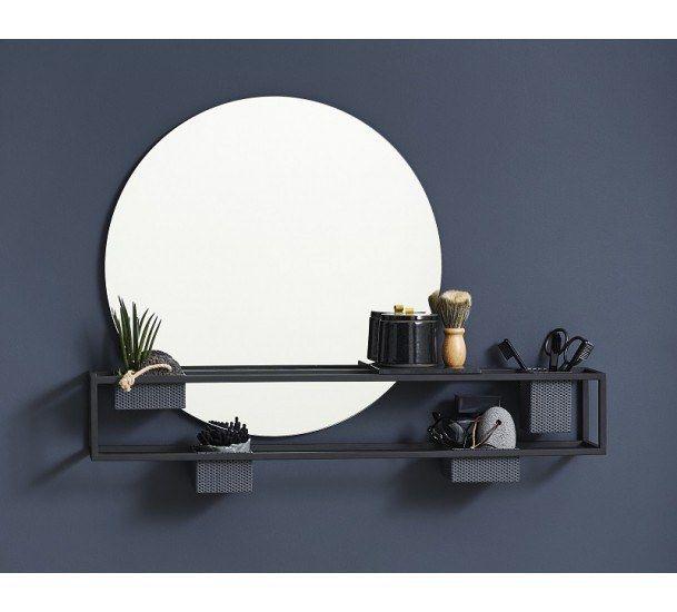 WOUD - Mirror Box Hylde - Sort - Sort hylde med rundt spejl