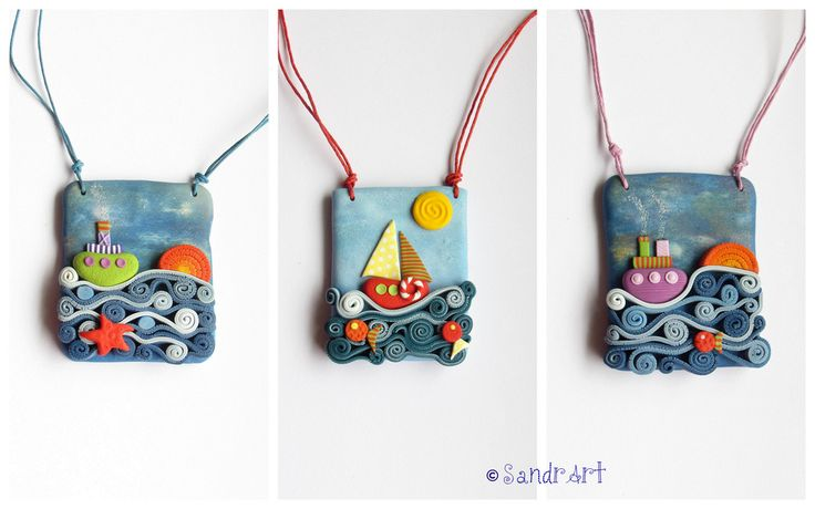 I love the way she made the sea - polymer clay