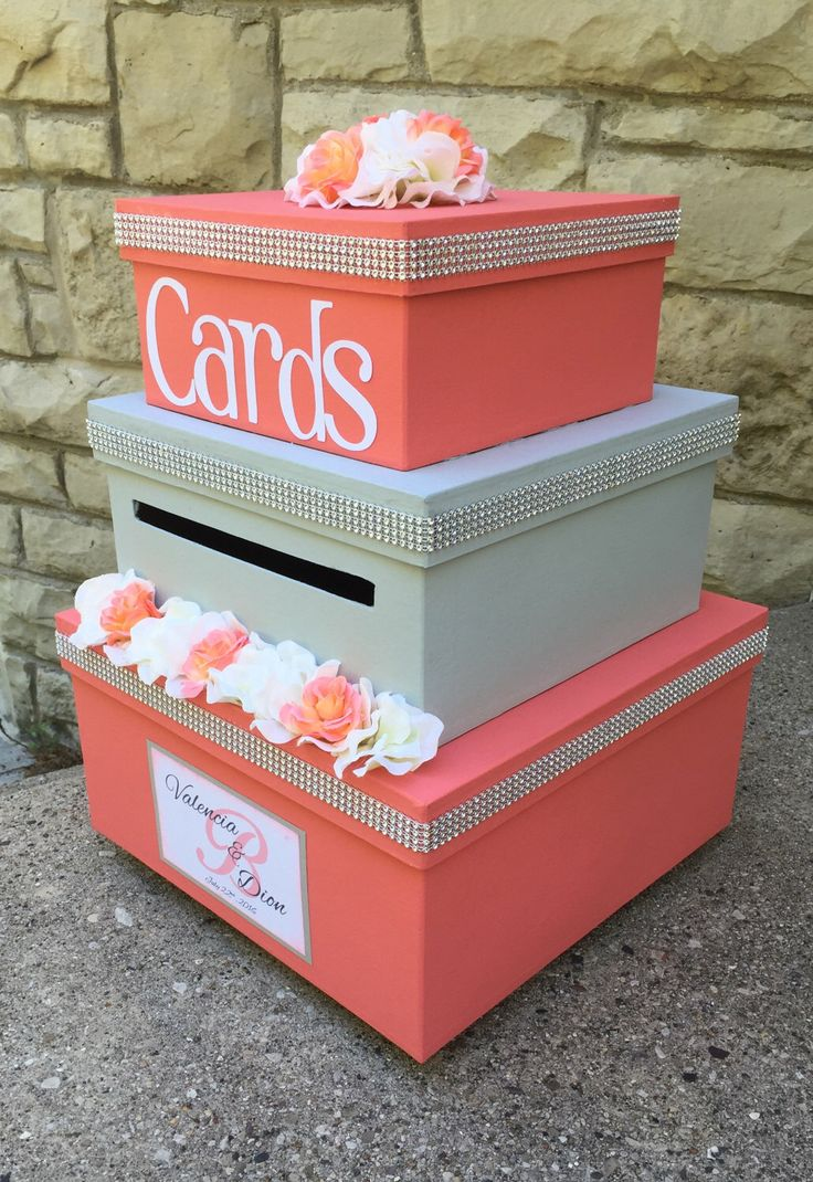 Wedding Card Box, Wedding Card Holder, 3 Tier, Square, Coral and Gray, Bling, Wedding Decor, Custom Design by aSignofJoy on Etsy https://www.etsy.com/listing/502133714/wedding-card-box-wedding-card-holder-3