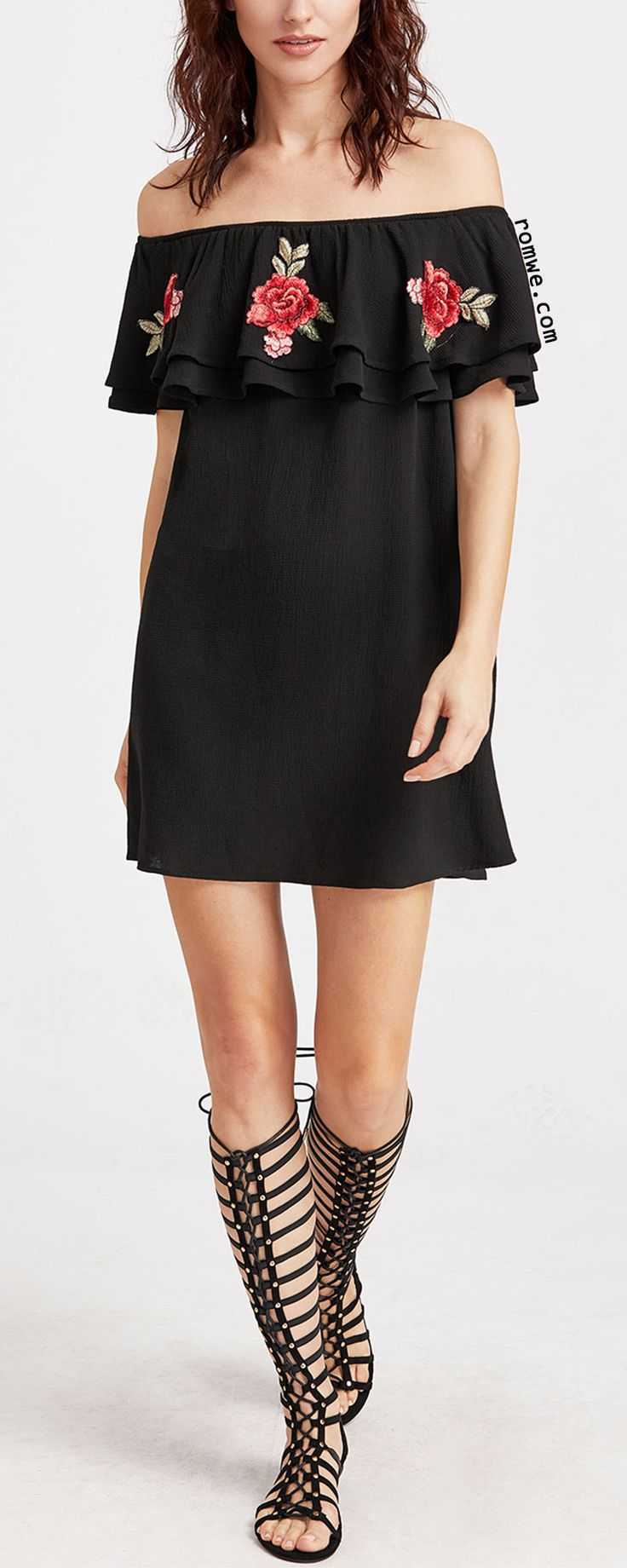 Black Embroidered Rose Applique Layered Ruffle Off The Shoulder Dress