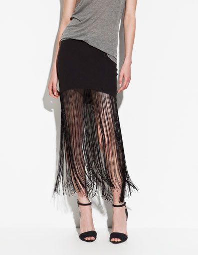 FRINGED SKIRT - Skirts - ZARA United States