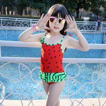 Bebé lindo traje de baño de una pieza de la sandía modelo 75-100 cm/2-5Y muchachas del traje de baño del cabrito/de los niños de natación traje de envío libre(China (Mainland))