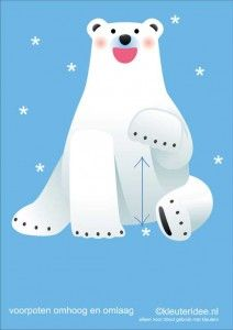 Bewegingskaarten ijsbeer voor kleuters 8, voorpoten omhoog en omlaag , kleuteridee.nl, thema Noorpool, Movementcards for preschool, free pr...