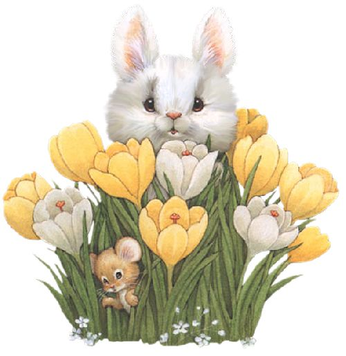 Bunny & Mouse Peek-a-Boo in the Crocus Blooms - spring flowers, bulbs, illustration, rabbit, easter, mice, bunnies