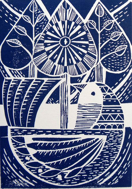 Blue Folk Bird and tree Lino print by Mangle Prints, via Flickr