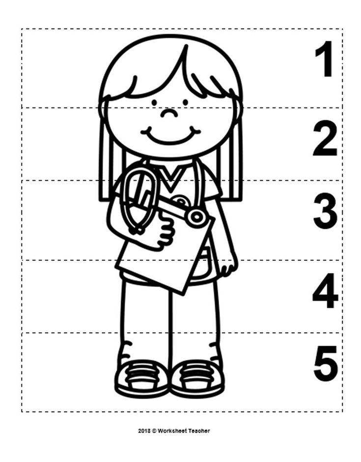 10 Community Helpers Number Sequence 1-5 Preschool Math B