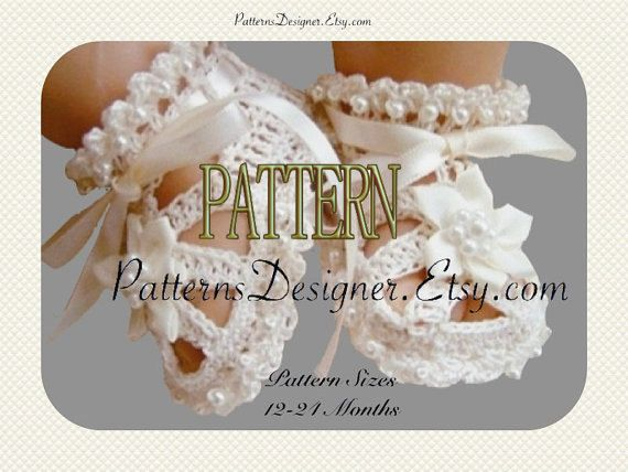 12-24 Months-ORIGINAL DESIGNER- Baby Booties W/ Beads, Baby Christening Shoes, Crochet Baby Booties/Sandals, Pattern PT002B