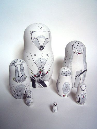 white animal stacking dolls #doll #tchotchke
