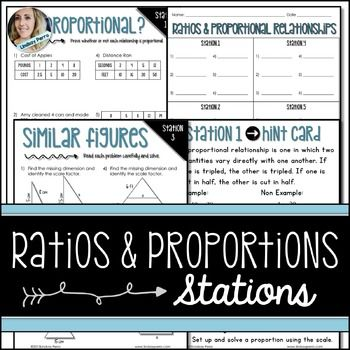 Ratios and Proportional Relationships Middle School Math Stations. About this resource : This set of ratios and proportions stations includes 6 stations that allow your students to practice skills associated with similar figures, scale, unit rate and proportional relationships.