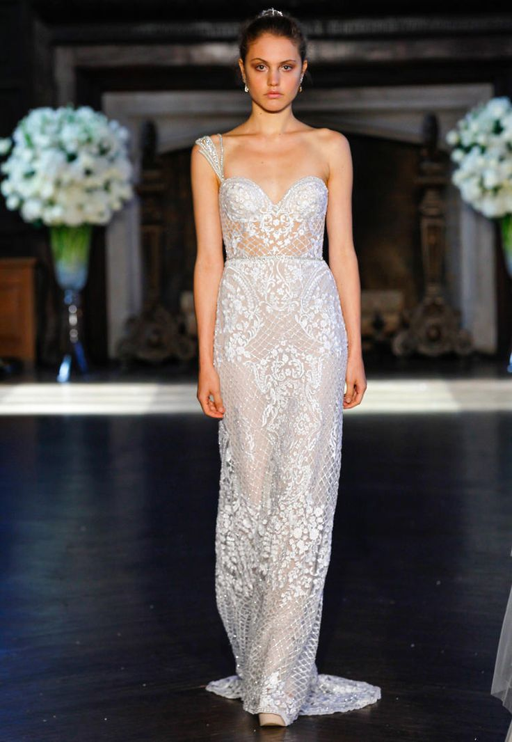 Alon Livne Fall 2016 one-shoulder lace and netting embroidered A-line wedding dress | https://www.theknot.com/content/alon-livne-wedding-dresses-bridal-fashion-week-fall-2016