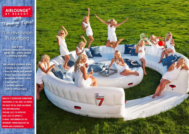 Air lounge by beach7 inflatable outdoor furniture for for Sofa exterior blanco