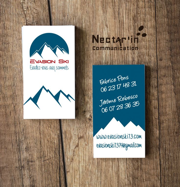 Carte de visite + logo pour Evasion ski. Moniteurs indépendants de ski en Haute Savoie. Impression recto/verso en vernis soft touch.