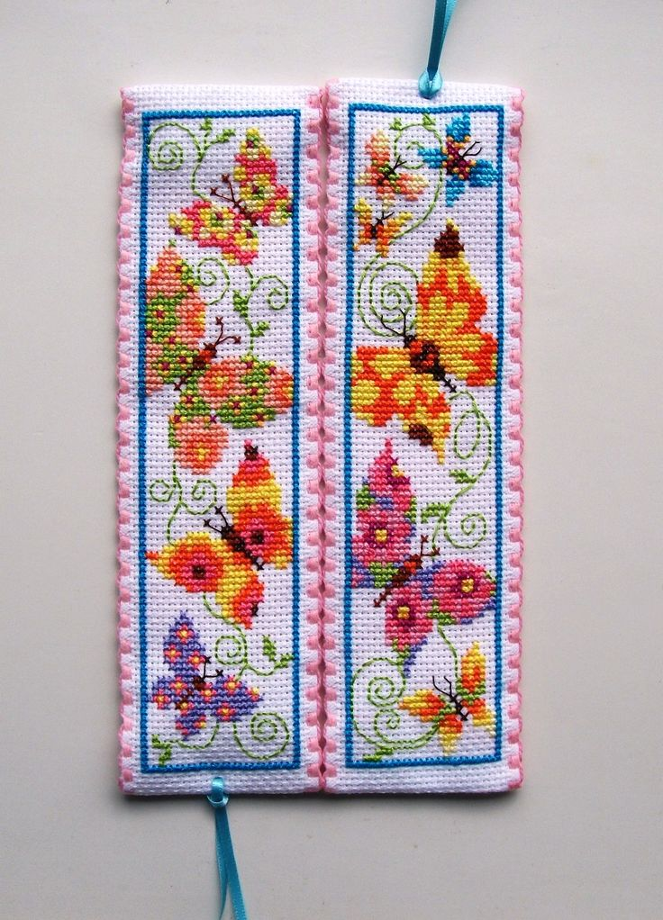 Cross stitch bookmarks. Flapping butterflies. Vervaco.