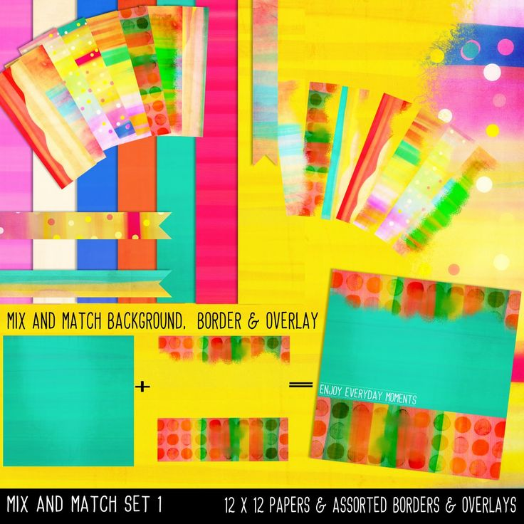 Mixed Paper, Overlay, Borders, Word Art, Instant download, Printable Paper, Mix and Match, Set 1, Template Paper by JustDigitalPapers on Etsy