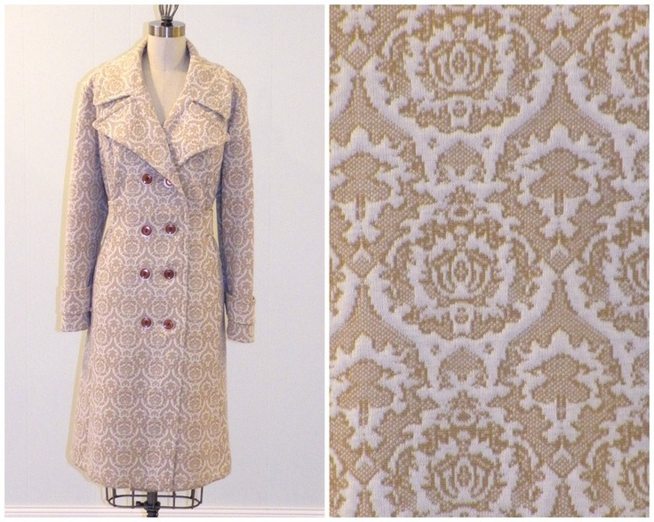 OMG!  I want!!!!!    1970s Coat / 70s Camel Brown & White Decorative Parlor Print Mod Jacket, Double Breasted Winged Collar Pockets, Vintage Fall PeaCoat Large. $75.00, via Etsy.