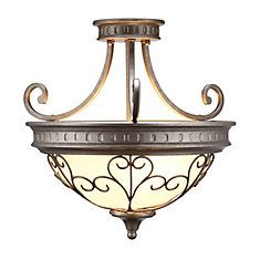 3 Light Semi Flushmount Ceiling Light 17.5 Inch - Antique Pewter with  Frosted White Glass Shade