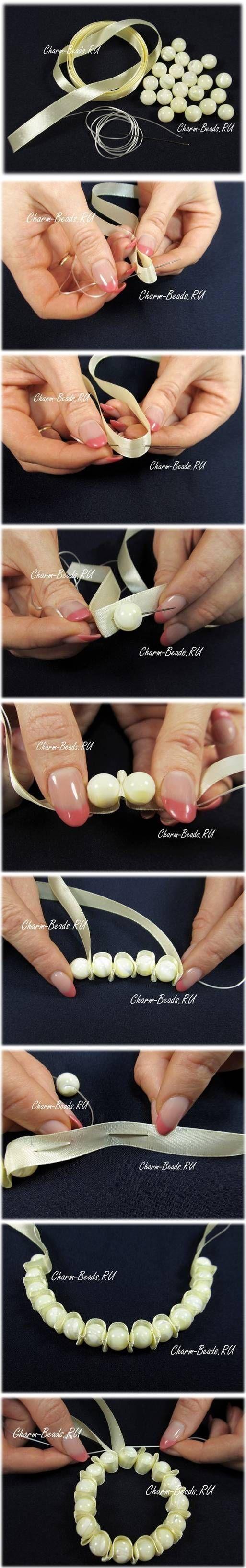 DIY Beads Satin Ribbon Bracelet