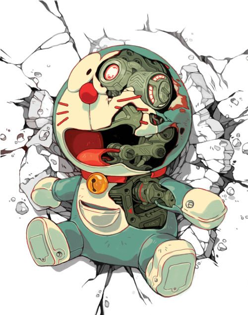 'Terminator' for QPOP The initial premise of Doraemon is basically the plot to Terminator lol A robot is sent back in time by a family member to help stop terrible events that will befall them in the future. Except not the singularity apocalypse, the scourge of mundane day to day Japanese life.Doraemon as a T-800 crash landing was too funny not to paint.