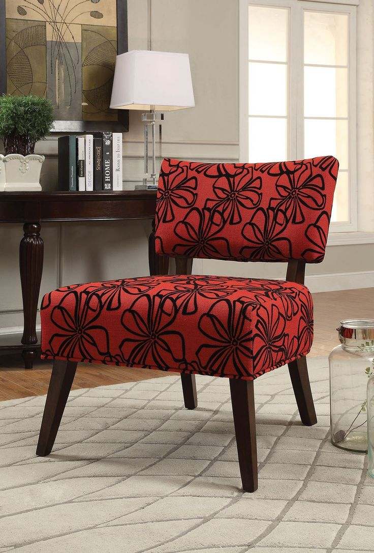 Cute Red Pattern Accent Chair Decor