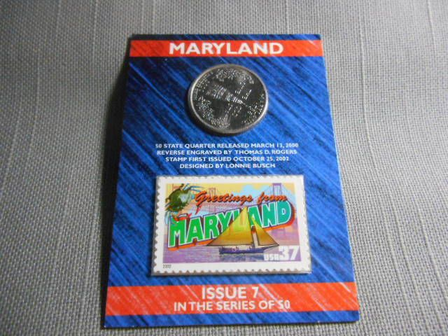 2000 US Mint State Of Maryland D Quarter Postal 37 Cent Stamp Sealed Issue USMINT Statehood Washington Pirate