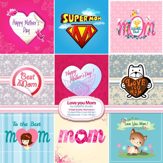 Love You Mom Clip Art Stickers and Backgrounds