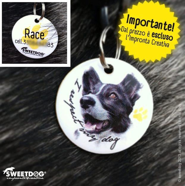 RACE (Border Collie). Medagliette personalizzate. Personalized dog tags.