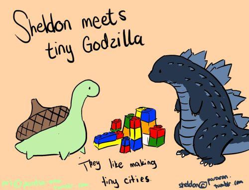 Aww Sheldon met a new friend =^.^=