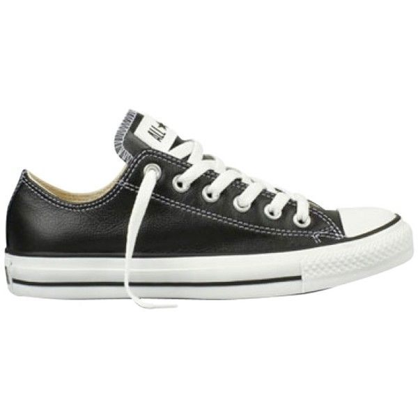 Converse Chuck Taylor All Star Low Top Leather Trainers ($75) ❤ liked on Polyvore featuring shoes, sneakers, converse, black, black shoes, low tops, black flat shoes, leather shoes and low top sneakers