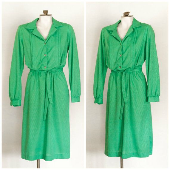 1980s or 70s kelly green long sleeve belted dress from Lady