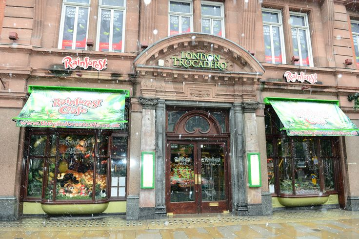 Frontage of The Rainforest Café located at 20 Shaftesbury Avenue London W1D 7EU. We're in the heart of the West end and we are part of Trocadero Centre! A wild place to shop and eat. www.therainforestcafe.co.uk