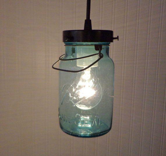 Blue Mason Jar Pendant Light Vintage Sure Seal Quart Jars Masons And Bathroom Light Fixtures