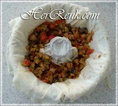 Kek Kalıbında Patlıcanlı Börek-Patlıcanlı börek tarifi,çay saati,çayın yanına börek tarifleri,kek kalıbında börek,kalıpta börek,ev börekleri,hazır yufkayla basit börek tarifleri,gün tarifleri,şekilli tarifler,değişik şekilli,hamur işleri farklı tarifler,