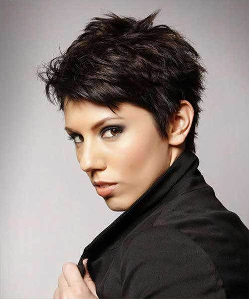7 Short Hairstyles For Thick Hair: #7. Short Dark Pixie Hairstyle with Thick Hair