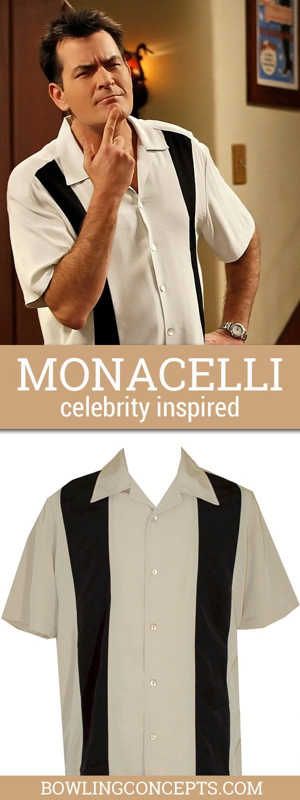 """Men's Stone with Black Front Panels Button Down Bowling Shirt made in very Comfortable """"smooth"""" Polyester."""