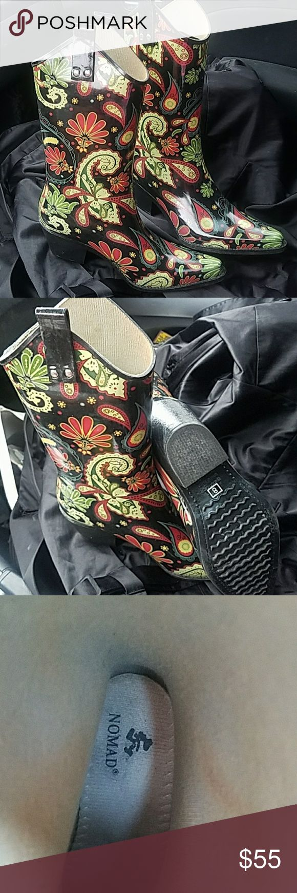 Nomad Cowboy Rain  Boots Gorgeous, Fun, Chic only worn once for about 2 hours, LOVE these,  just need a size 9! Will trade for exact boits in size 9 ! Nomad Shoes Winter & Rain Boots