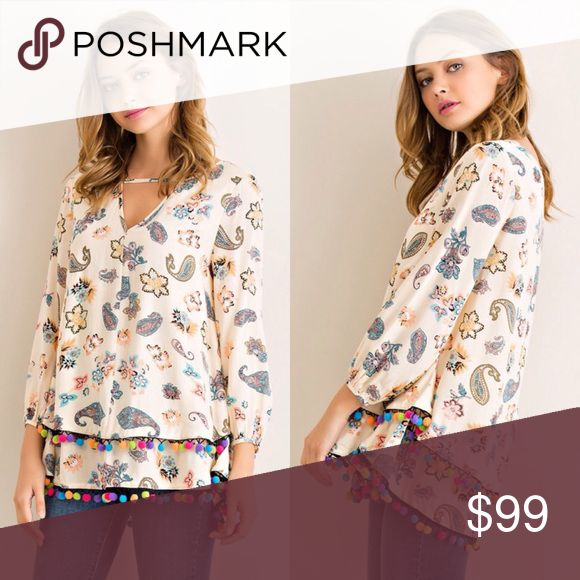 Pom Pom Trim Paisley Top (Natural) 💗 Beautiful paisley Print bell sleeves too featuring front cut out and double layered hem with Pom Pom detailing  💗 100% Rayon  💗 Color may slightly vary according to device color calibration and lighting (indoor/outdoor/time of day/angle) Tops