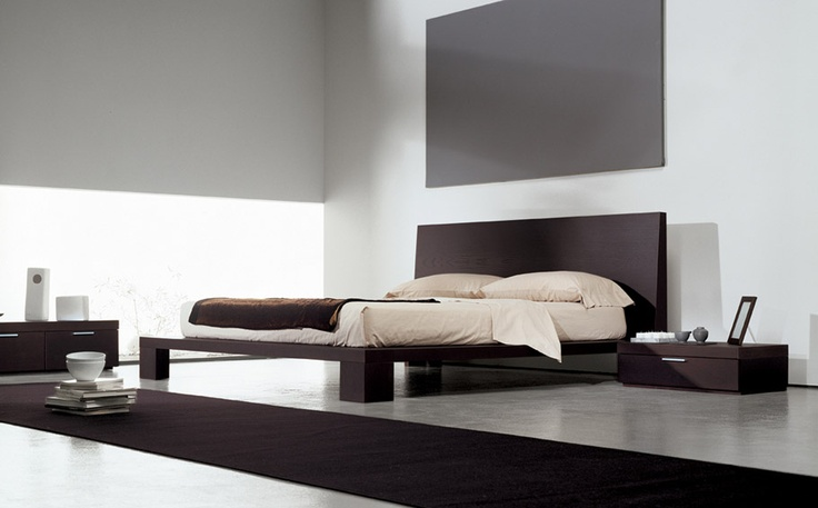 TATOO - Bed in dark oak finishing with corner feet, elegant bedside tables in two dimensions and elegant drawers base unit. http://www.fimarmobili.com