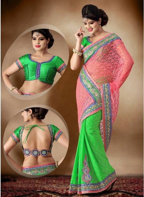 Alluring green and salmon embroidered #sarees #designersares #clothing #fashion #womenwear #womenapparel #ethnicwear