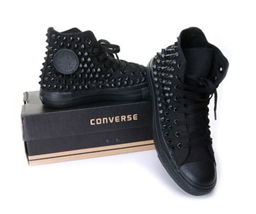 studded converse high top all black shoes