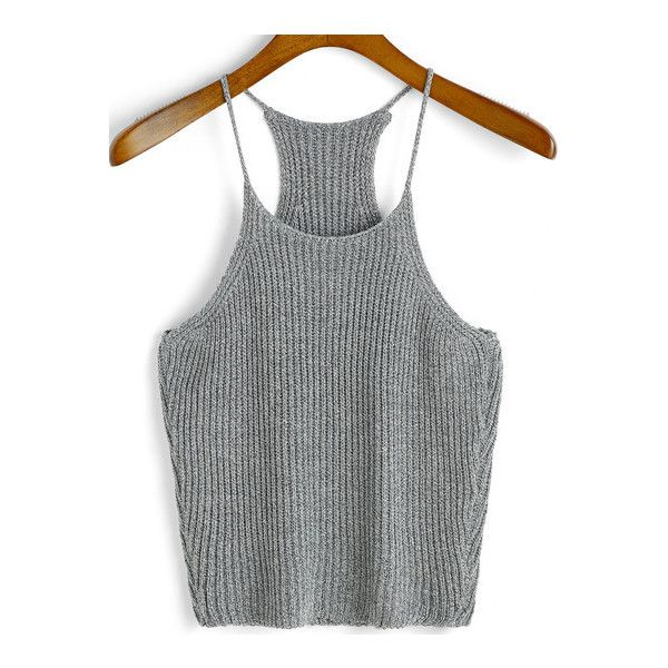 SheIn(sheinside) Spaghetti Strap Knit Grey Cami Top ($12) ❤ liked on Polyvore featuring tops, grey, gray camisole, gray tank top, gray tank, cami tank tops and grey camisole