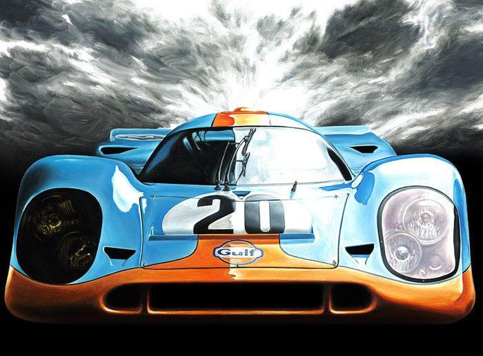Porsche 917 Gulf Steve McQueen Le Mans 1970 Car Art Print Poster Hand Signed by Artist Andrea Del Pesco