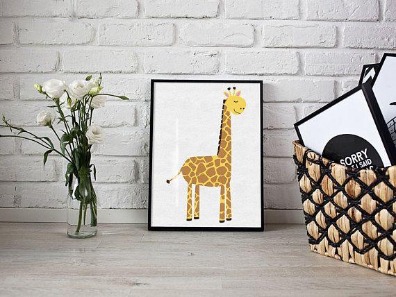 Girafe impression - art de la chambre de bébé - impression personnalisée - nom print - pépinière d'impression - pépinière mur art - print de chambre garçons - filles chambre
