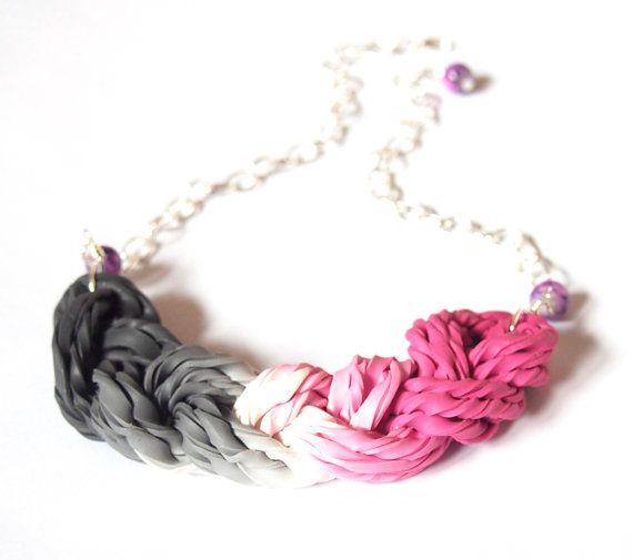 Statement Necklace, braided necklace, grey bib necklace, pink bib necklace, ombre necklace, polymer clay jewelry, braid necklace