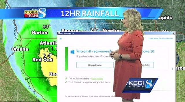 Cloudy with a chance of nagware: Windows 10 upgrade notification disrupts weather broadcast