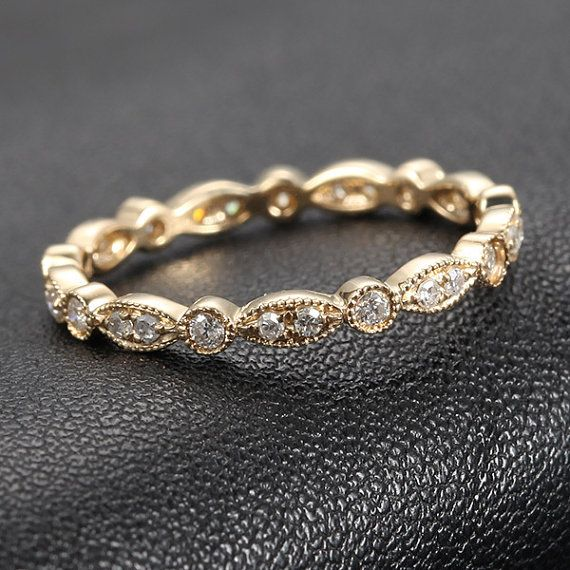 Affordable And Super Cute Art Deco Antique Style 32ct Diamond Milgrain 14K Yellow Gold Wedding