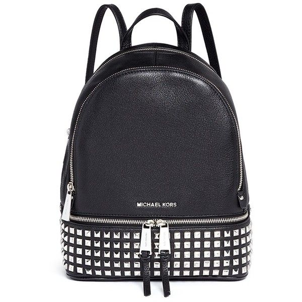 Michael Kors 'Rhea' small stud leather backpack ($540) ❤ liked on Polyvore featuring bags, backpacks, michael kors, black, leather backpack bag, studded bag, day pack backpack, grunge backpack and leather bags