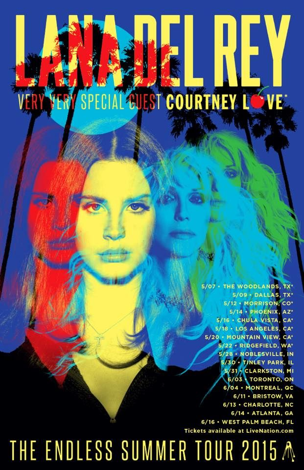 """NEWS: The alternative pop artist, Lana Del Rey, has announced a tour, for summer 2015, called the """"Endless Summer Tour."""" Supporting the tour will be Courtney Love. You can check out the dates and details at http://digtb.us/lanaofficial"""