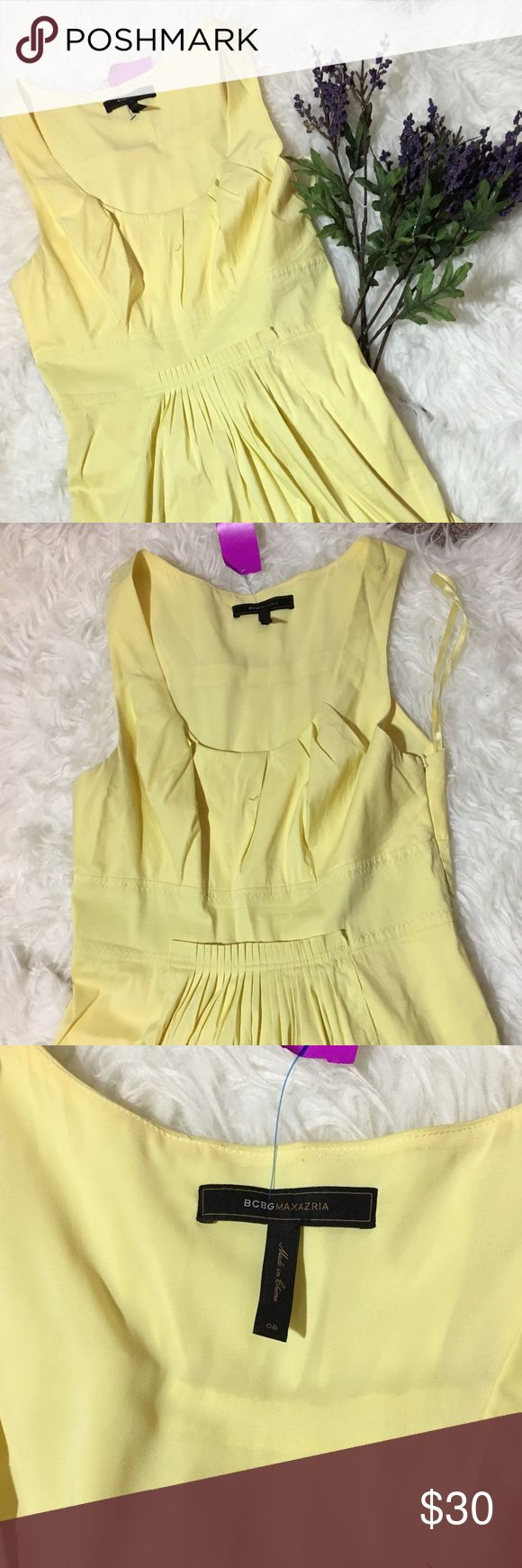 BCBG Yellow Dress Size 8 BCBG Light Yellow Dress. Preowned. Pleated at skirtline. 39 inches long. 16 inches across chest. Size 8. Lightly lined. Cotton and nylon. Dry clean. BCBG Dresses